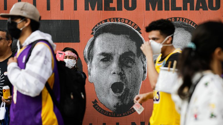 The centre of Sao Paulo heaved with people consumed with their hatred of their president Jair Bolsonaro. Pic: AP