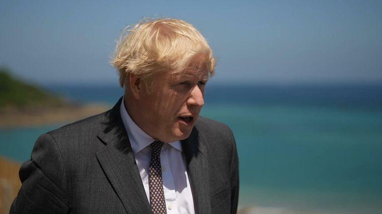 Boris Johnson speaks to media in Cornwall