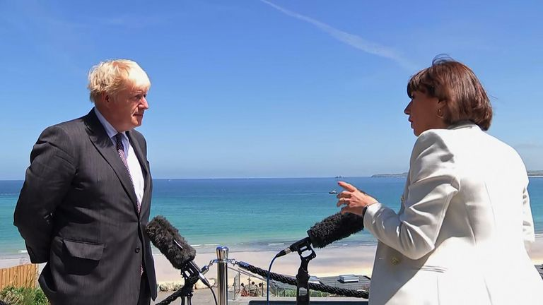 Boris Johnson talks to Sky News political editor Beth Rigby in Cornwall