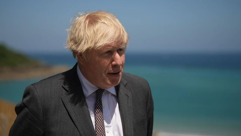 Boris Johnson speaks to the media at Cornwall during the G7 summit on Saturday