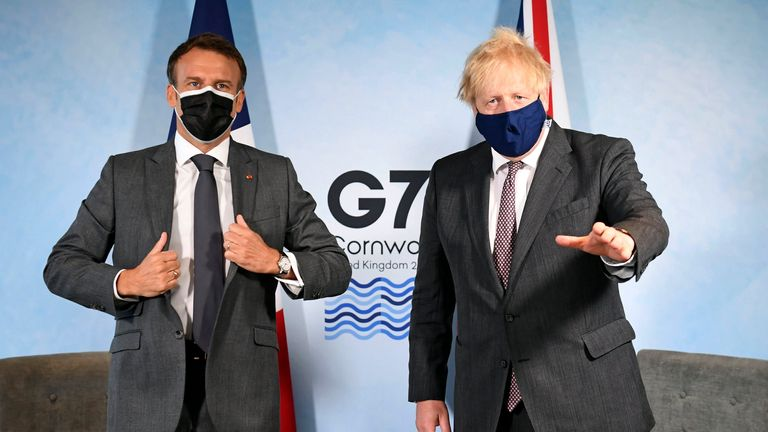 Prime Minister Boris Johnson (right) and French President Emmanuel Macron, ahead of a bilateral meeting during the G7 summit in Cornwall. Picture date: Saturday June 12, 2021. PA Photo. See PA story POLITICS G7. Photo credit should read: Stefan Rousseau/PA Wire