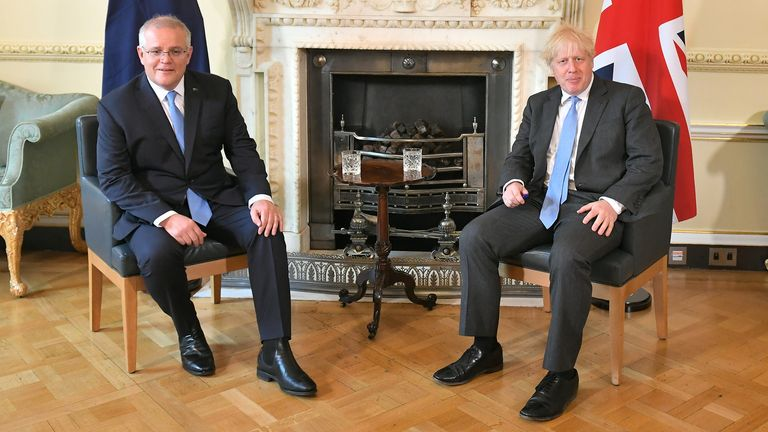 Prime Minister Boris Johnson (right) with Australian Prime Minister Scott Morrison at 10 Downing Street, London, ahead of a meeting to formally announce a trade deal with the UK. It will be the UK's first trade deal negotiated fully since leaving the European Union. . Picture date: Tuesday June 15, 2021.