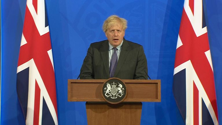 Boris Johnson addresses a press conferen