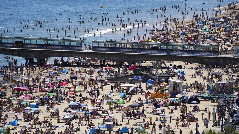 Sunbathers on Bournemouth beach on 14June