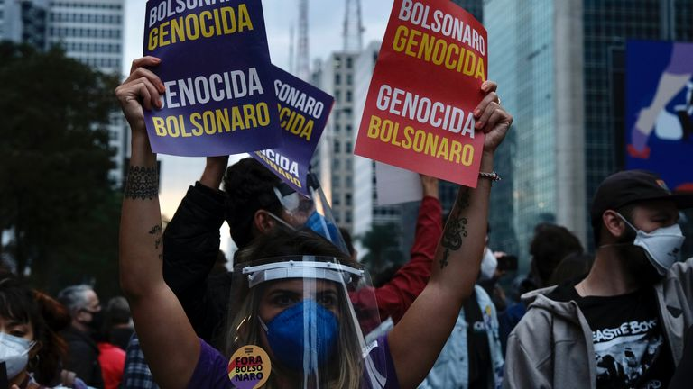 Demonstrators accused the president of genocide