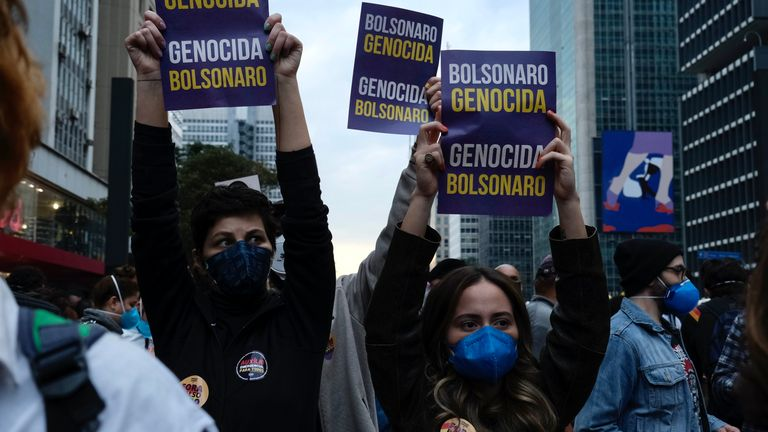 Brazilian protesters are holding their president responsible for the huge number of COVID deaths in the country