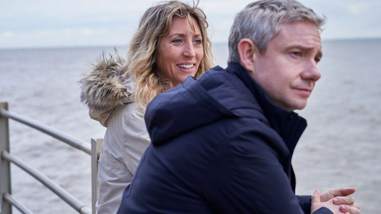 Martin Freeman as Paul and Daisy Haggard as Ally in Breeders. Pic: Sky UK
