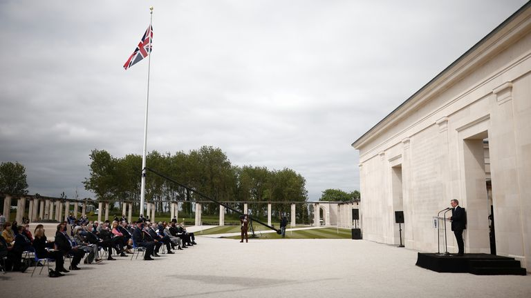 Lord Edward Llewellyn, British Ambassador to France, speaks during the official opening ceremony of the British Normandy Memorial