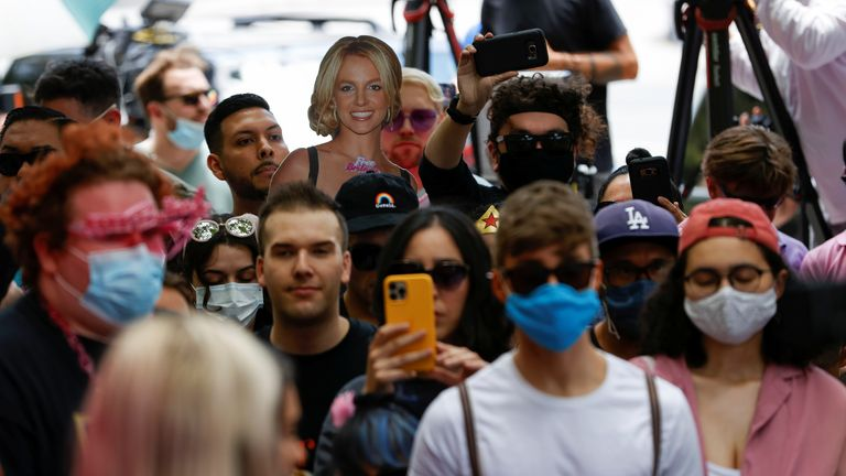 People protest in support of pop star Britney Spears on the day of a conservatorship case hearing at Stanley Mosk Courthouse in Los Angeles, California