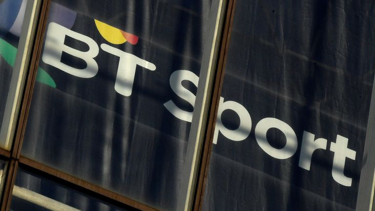 A BT Sport logo is displayed in an office in the City of London, Britain, January 24, 2017.