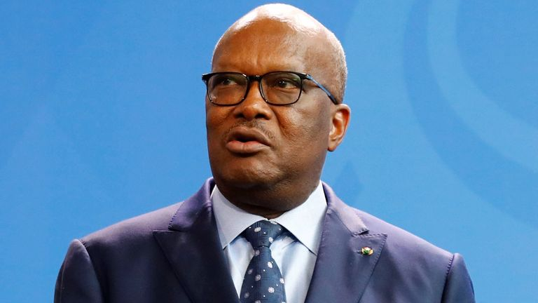 President of Burkina Faso Roch Marc Christian Kabore addresses a news conference in Berlin, Germany, February 21, 2019