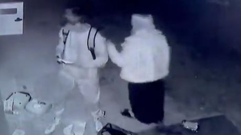 The vandals caught on CCTV (Pic: @BuxtedFC)