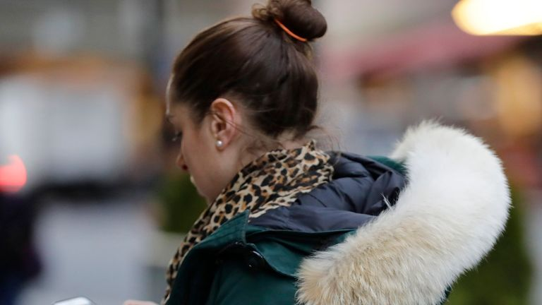 Pedestrian wears Canada Goose coat with fur trimmed hood. Pic: AP