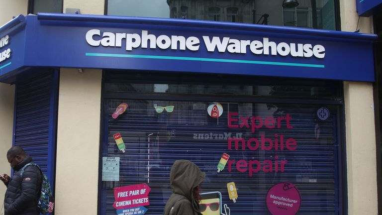 A Carphone Warehouse store on Oxford Street, central London 29/5/2018