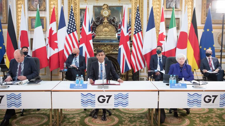 Chancellor Rishi Sunak at a meeting of finance ministers from across the G7 nations