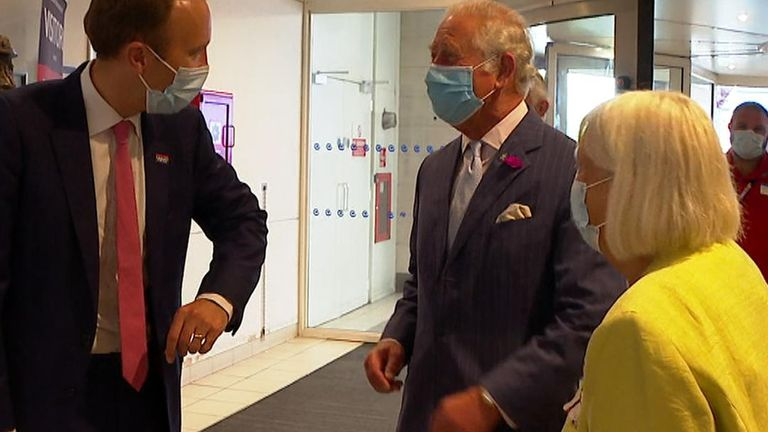 Prince Charles was visiting a hospital in London when he met the health secretary.