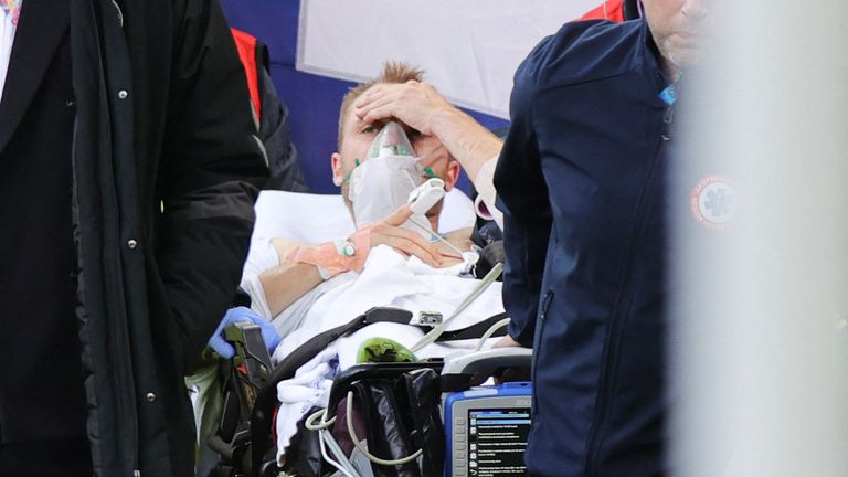 Eriksen appeared conscious as he was stretchered off. Pic: Getty