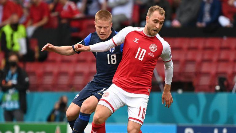 Eriksen was playing against Finlandin Denmark's Euros opener