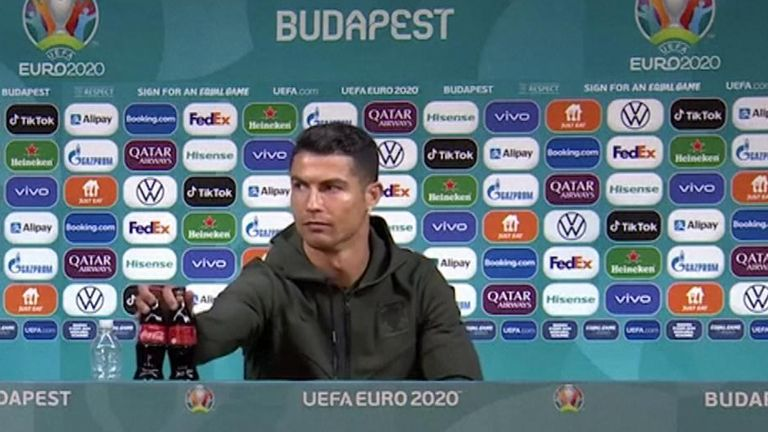 Euro 2020: Footballers told to stop moving sponsors' drinks at news  conferences | World News | Sky News