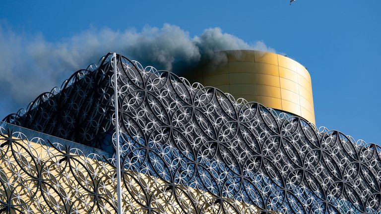 Smoke released from Birmingham Library to represent the nitrogen oxides saved by the CAZ