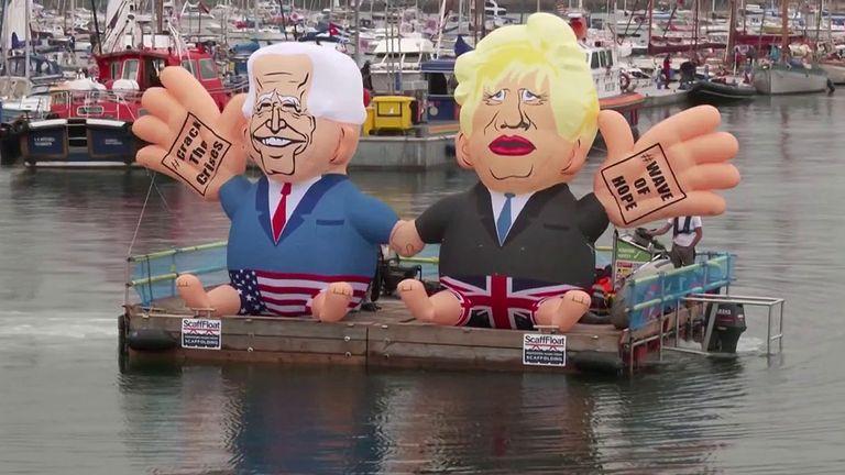 Boris Johnson and Joe Biden  blimps
