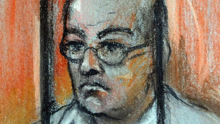 A court artist's impression of Colin Pitchfork, 48, appealing the length of his sentence at the Court of Appeal in London.