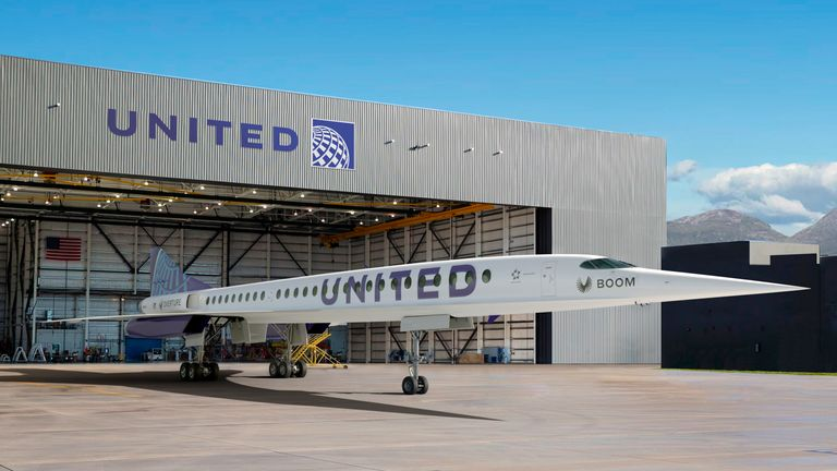 An artist's rendition of United Airlines Boom Supersonic Overture jet. Pic: AP