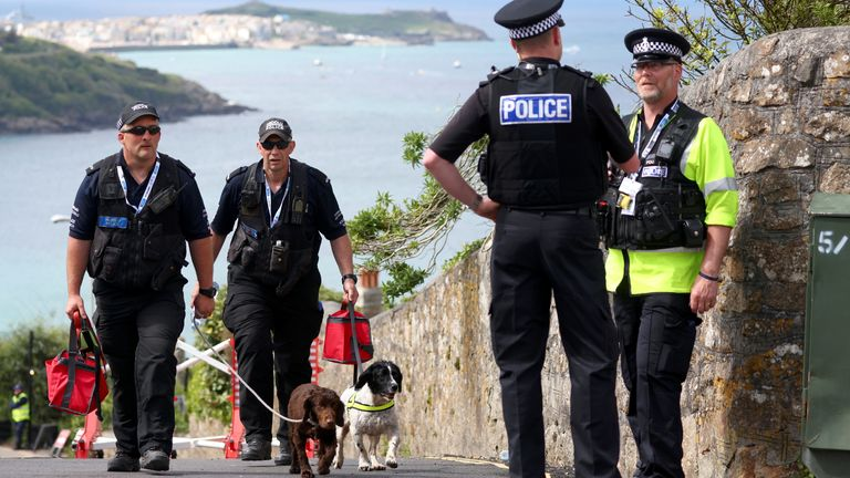 Police officers in front of the Carbis Bay Hotel ahead of the G7 summit in Cornwall