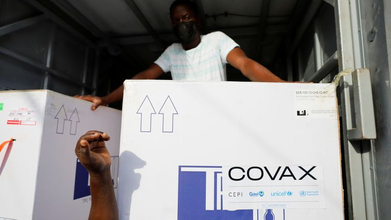 The Covax scheme is helping distribute jabs to poorer countries
