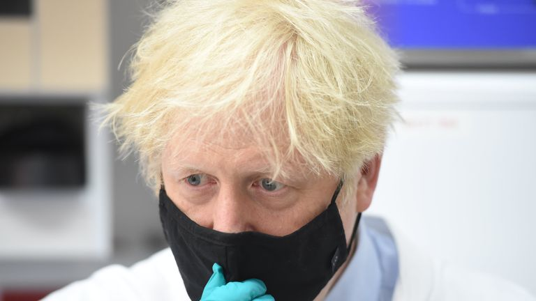 Prime Minister Boris Johnson during a visit to the National Institute for Biological Standards in South Mimms, Hertfordshire