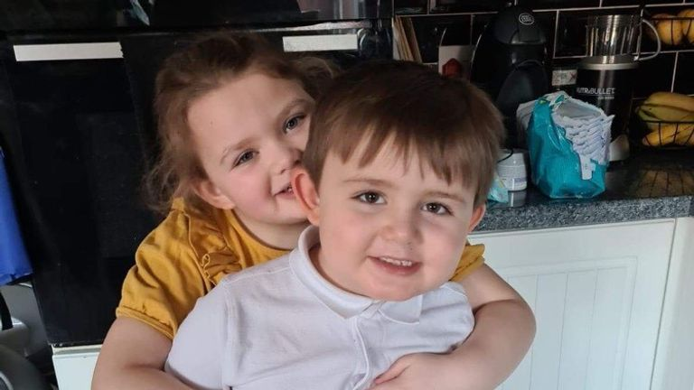 Graham Horsfall could not see his children, Lily, six, and five-year-old Ollie, for months after falling critically with COVID. Pic: Graham Horsfall