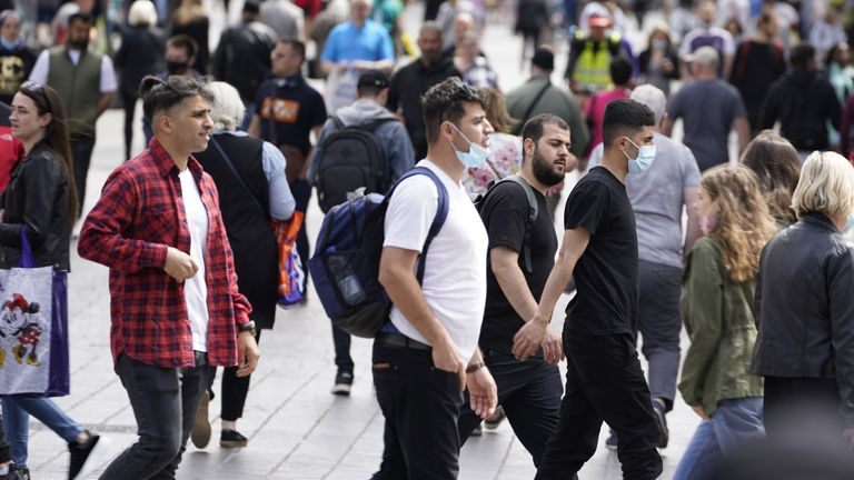 Some people wearing masks in the busy Liverpool city centre. Picture date: Monday June 14, 2021