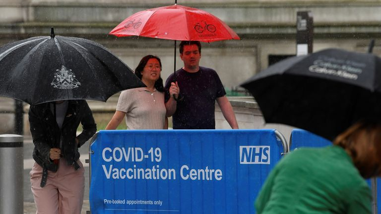 People shield from the rain outside of a COVID-19 vaccination