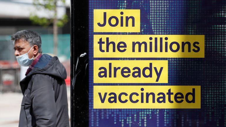 A COVID vaccination advert in Bedford