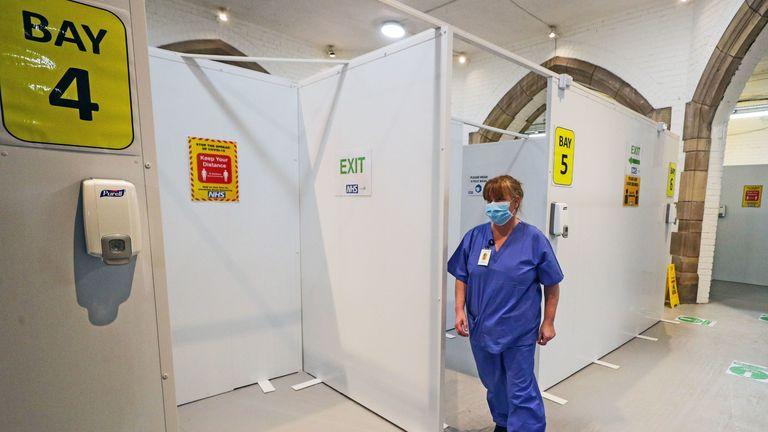 A COVID vaccination centre at Blackburn Cathedral