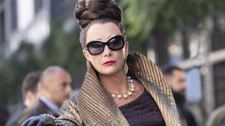 Dame Emma Thompson pictured wearing during Cruella, wearing bespoke Tom Davies glasses