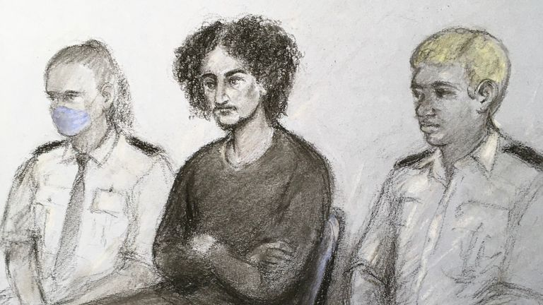 Court artist sketch by Elizabeth Cook of Danyal Hussein (centre) appearing in the dock at the Old Bailey, London, where he is on trial accused of killing sisters Nicole Smallman and Bibaa Henry in Fryent Country Park, Wembley, north-west London, in the early hours of Saturday June 6, 2020. Picture date: Wednesday June 9, 2021.