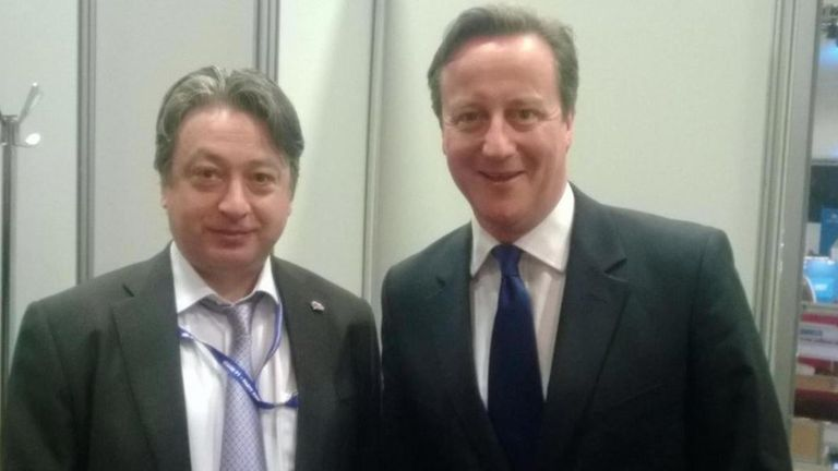 Aquind owner Alexander Temerko poses for a photo with former prime minister David Cameron in 2014 (alexandertemerko.co.uk)