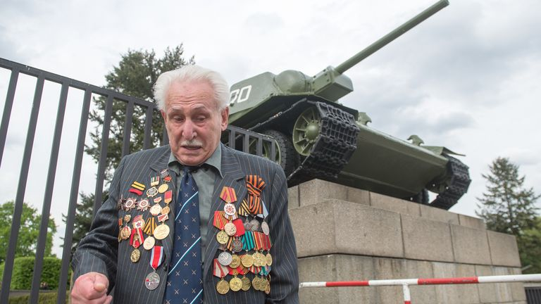 David Dushman at the Soviet memorial in Berlin as he remembered his comrades who died in World War Two