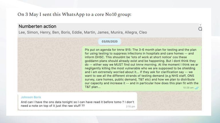 Un message WhatsApp publié par Dominic Cummings le 25 juin