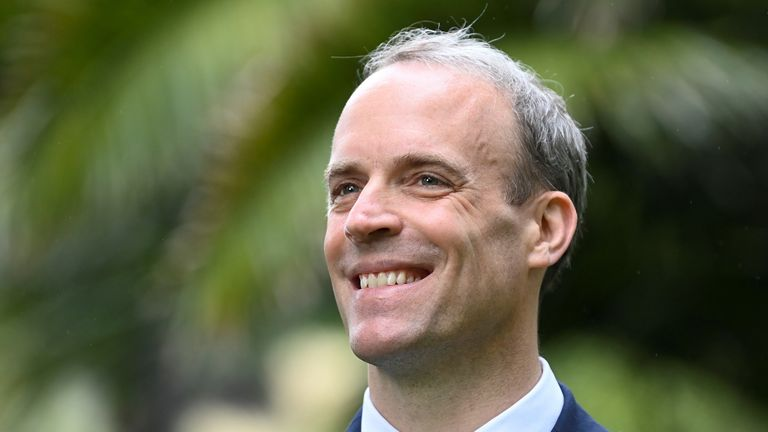 Britain's Foreign Secretary Dominic Raab smiles during an interview with Reuters on the sidelines of G7 summit in Carbis Bay, Cornwall
