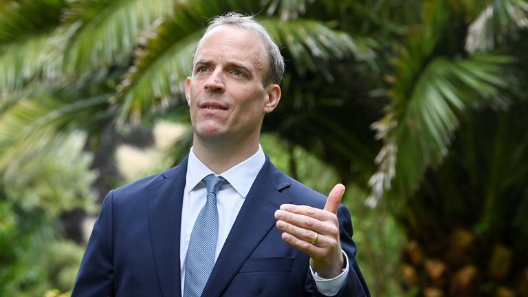 Britain's Foreign Secretary Dominic Raab gestures during an interview with Reuters on the sidelines of G7 summit in Carbis Bay, Cornwall
