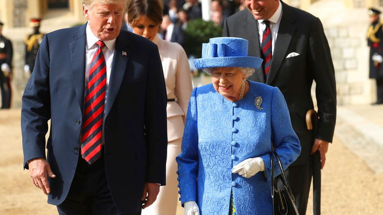 Donald Trump met the Queen for the first time in July 2018. Pic: AP
