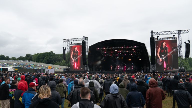 Fesivalgoers didn't need to wear masks or socially distance on the first day of Download Festival