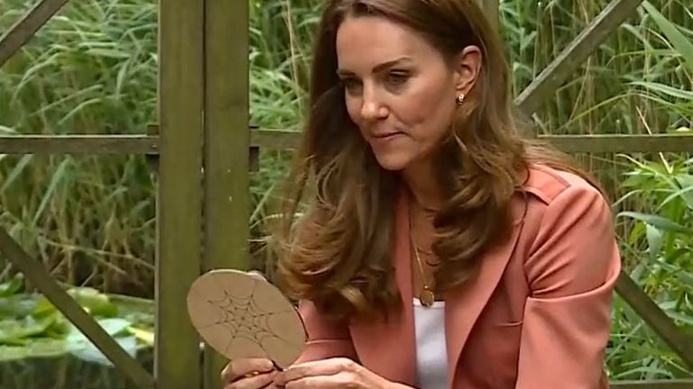 Duchess of Cambridge makes a cardboard spider at the Natural History Museum