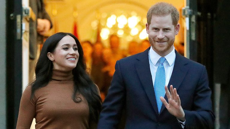 The Duke and Duchess of Sussex in London in January 2020. Pic: AP