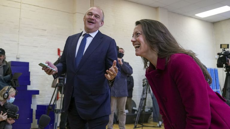 The Lib Dems' new MP for Chesham and Amersham, Sarah Green, and party leader Sir Ed Davey