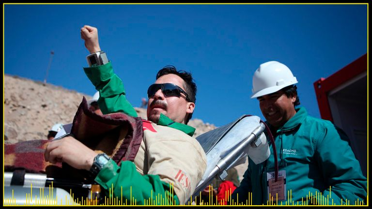 Edison Pena, left, spent weeks trapped underground after the Chilean mine collapse