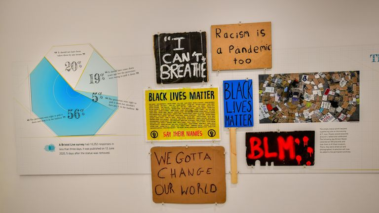Placards collected from the protests are also going on display