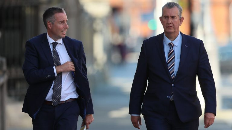 Edwin Poots (right) with Paul Givan in Dublin on 3 June